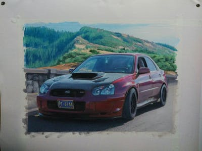 A painting of car, vehicle, motor vehicle, automotive design, subaru impreza wrx sti, sedan, subaru, subaru, automotive exterior, wheel