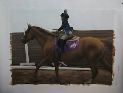 A painting of horse, bridle, rein, horse tack, horse like mammal, western riding, stallion, mare, jockey, equestrianism