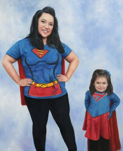 A painting of blue, red, clothing, costume, fun, girl, product, superman, cosplay, superhero