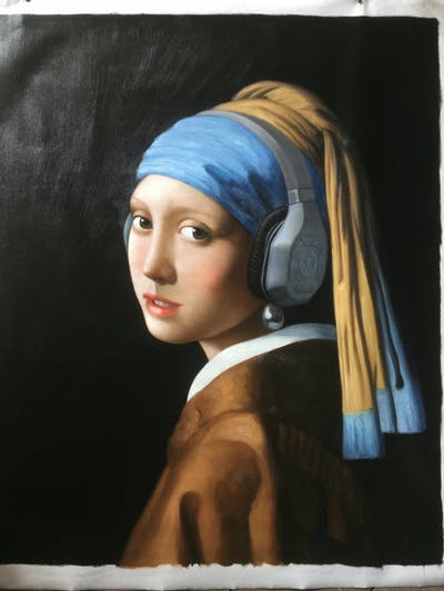 A painting of painting, portrait, art, modern art, headgear, artwork, hair accessory