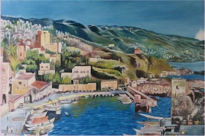 A painting of city, town, coast, harbor, tourism, port, marina, sea, village, bay