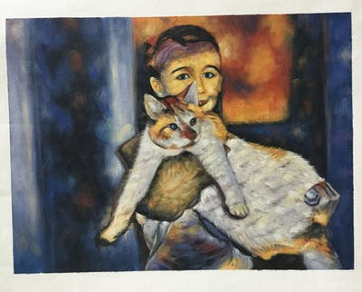 A painting of cat, skin, small to medium sized cats, vertebrate, cat like mammal, whiskers, domestic short haired cat, kitten, fur, european shorthair