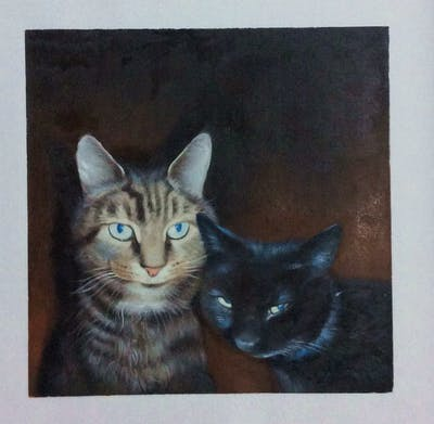 A painting of cat, whiskers, fauna, mammal, small to medium sized cats, dragon li, tabby cat, cat like mammal, domestic short haired cat, european shorthair