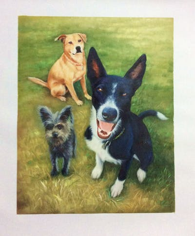 A painting of dog, dog breed, dog like mammal, snout, grass, dog breed group, hound, dog crossbreeds