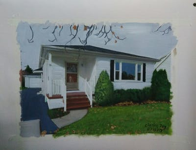 A painting of home, house, property, siding, residential area, real estate, cottage, neighbourhood, window, facade