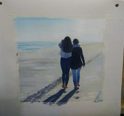 A painting of sky, sand, vacation, beach, horizon, girl, fun, cloud, shadow, summer