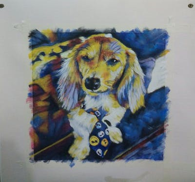 A painting of dog, dog breed, dog like mammal, dog breed group, snout, puppy, dog crossbreeds, companion dog, carnivoran