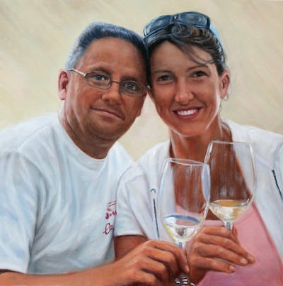 A painting of fun, drink, smile, professional, friendship, product, girl, vacation, stemware, recreation