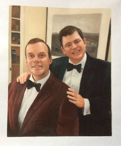 A painting of suit, formal wear, tuxedo, gentleman, necktie, socialite, event, smile, professional, fun