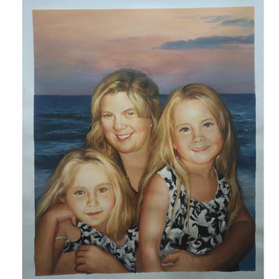 A painting of hair, people, woman, facial expression, friendship, smile, human hair color, emotion, fun, blond