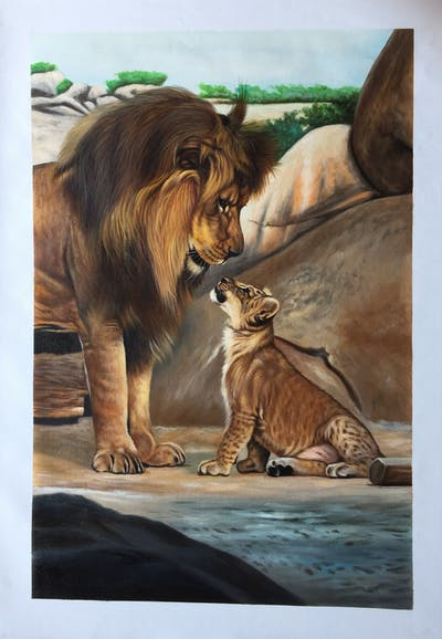 A painting of wildlife, lion, mammal, fauna, terrestrial animal, masai lion, big cats, organism, whiskers, carnivoran