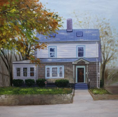 A painting of house, home, property, cottage, siding, real estate, farmhouse, window, historic house, facade