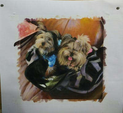 A painting of dog, dog breed, dog like mammal, yorkshire terrier, terrier, snout, small terrier, puppy, companion dog, carnivoran