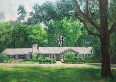 A painting of home, house, property, estate, cottage, real estate, tree, farmhouse, landscape, plantation
