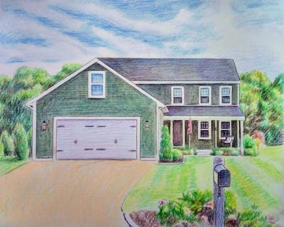 A painting of home, property, house, residential area, architecture, real estate, sky, suburb, estate, cottage