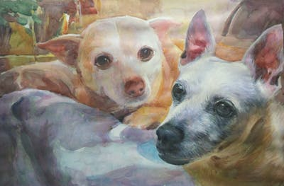 A painting of dog breed, dog, dog breed group, dog like mammal, snout, whiskers, chihuahua, miniature fox terrier, corgi chihuahua, rare breed dog