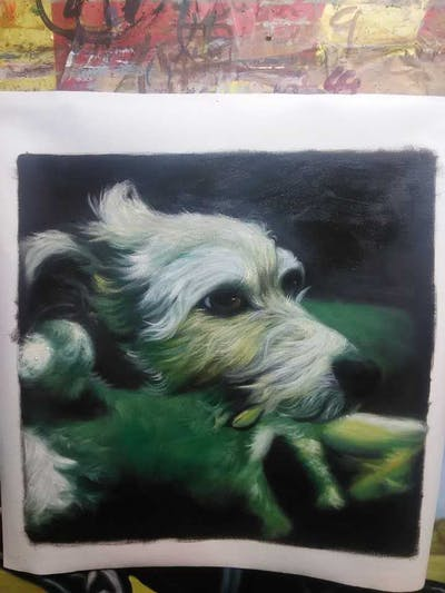 A painting of green, dog like mammal, dog, dog breed, snout, west highland white terrier, terrier, carnivoran, puppy, dog crossbreeds