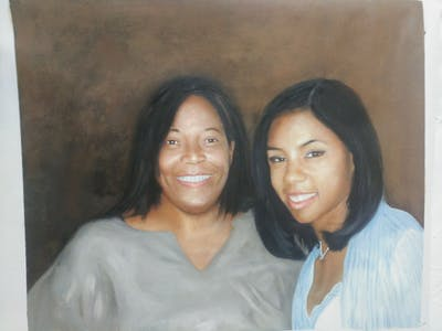 A painting of woman, people, person, facial expression, smile, beauty, lady, emotion, friendship, fun