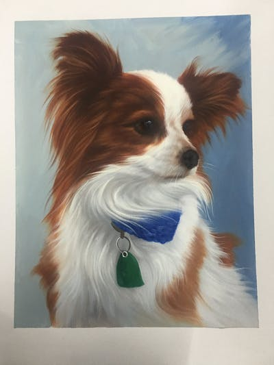 A painting of dog, dog breed, dog like mammal, dog breed group, papillon, phalène, snout, companion dog, carnivoran, fur