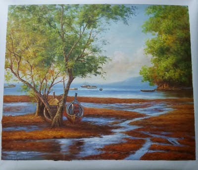 A painting of water, body of water, shore, tree, coast, sea, sky, plant, wood, landscape