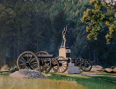 A painting of cannon, tree, landscape, rural area, national park, grass, monument, village