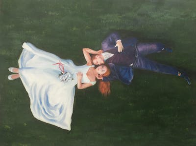 A painting of blue, clothing, green, grass, vertebrate, plant, lawn, fun, meadow
