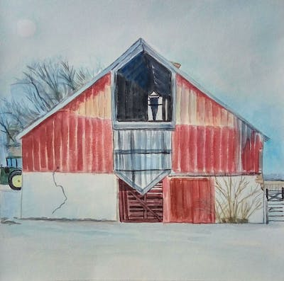 A painting of barn, snow, winter, building, house, home, facade, sugar house, shack, wood
