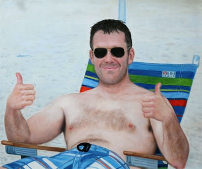A painting of barechestedness, man, vacation, sunglasses, fun, male, chest hair, beach, summer, water