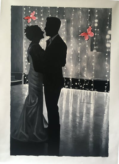 A painting of red, photograph, black, man, dress, ceremony, black and white, event, romance, wedding