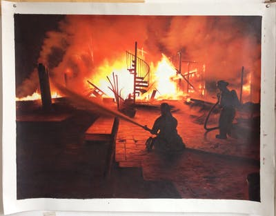 A painting of fire, flame, heat, night, bonfire, darkness, explosion, campfire, smoke, evening