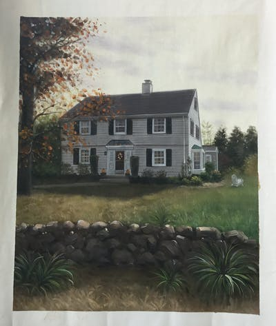 A painting of house, home, property, cottage, farmhouse, real estate, facade, estate, window, tree