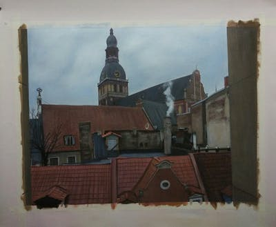 A painting of town, building, roof, sky, medieval architecture, wall, steeple, urban area, church, brick
