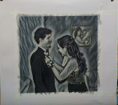 A painting of formal wear, ceremony, wedding, bride, event, suit, standing, groom, gown, dress