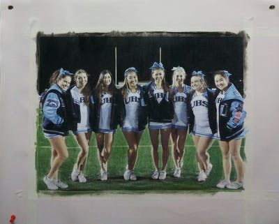 A painting of cheerleading uniform, team sport, team, cheerleading, cheering, sports, sports uniform, uniform, sport venue, competition