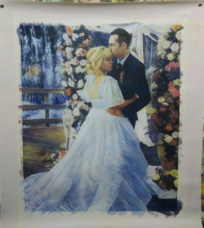 A painting of gown, wedding dress, flower, bridal clothing, marriage, bride, dress, flower bouquet, flower arranging, veil