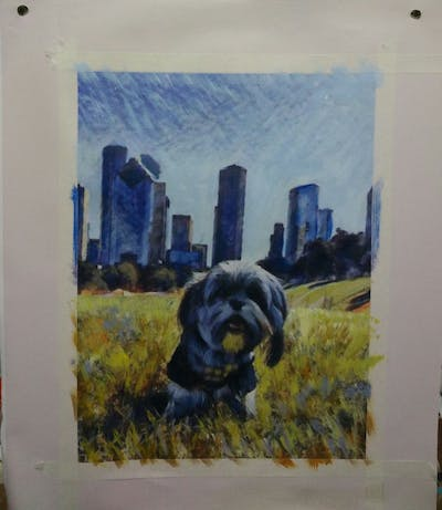 A painting of sky, grass, dog like mammal, dog, plant, snout, lawn, tree