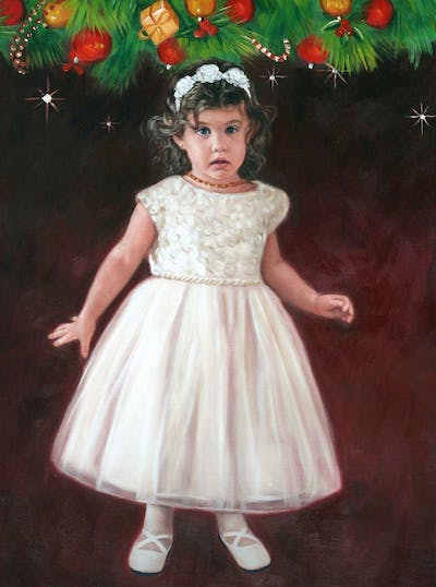 A painting of gown, dress, wedding dress, girl, bridal clothing, flower girl, bridal party dress, cocktail dress, shoulder, child