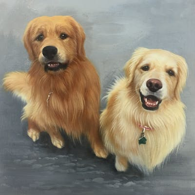 A painting of dog, golden retriever, dog breed, dog like mammal, dog breed group, retriever, snout, sporting group, companion dog, carnivoran