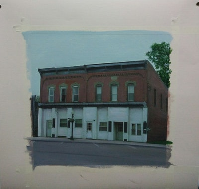 A painting of building, landmark, property, house, town, neighbourhood, architecture, structure, facade, residential area