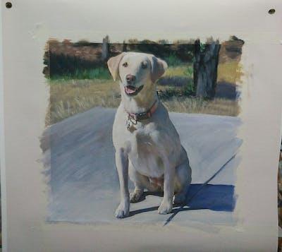 A painting of dog, dog breed, dog like mammal, labrador retriever, retriever, snout, dog breed group, sporting group, companion dog, carnivoran