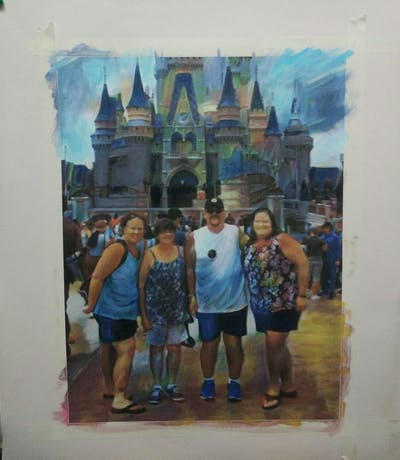 A painting of walt disney world, landmark, tourism, tourist attraction, vacation, temple, amusement park, recreation, city, sky