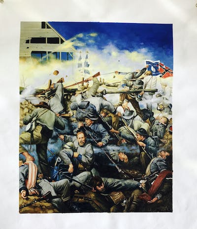 A painting of troop, battle, infantry, painting, war, military organization, marines, art, army, soldier