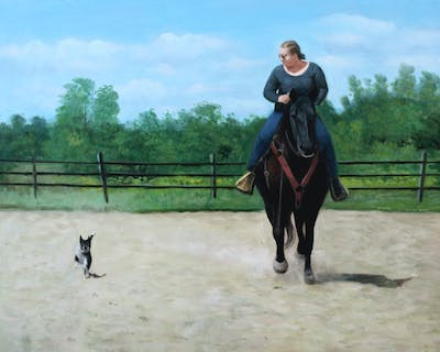A painting of horse, rein, bridle, western riding, mare, stallion, horse like mammal, horse tack, ranch, animal sports