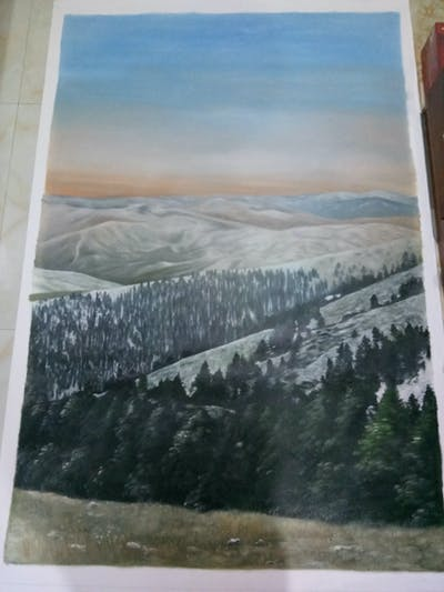 A painting of ridge, winter, mountainous landforms, snow, mountain, wilderness, fell, highland, sky, hill