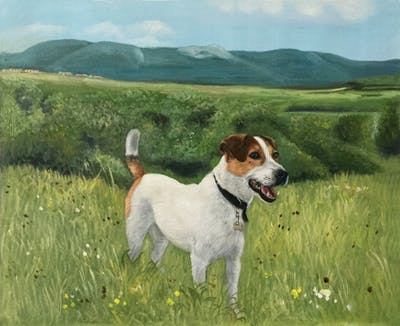 A painting of dog breed, dog, dog like mammal, jack russell terrier, russell terrier, dog breed group, estonian hound, harrier, treeing walker coonhound, beagle