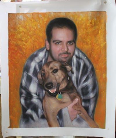 A painting of dog, dog breed, dog like mammal, puppy, snout, rhodesian ridgeback, dog crossbreeds, broholmer, carnivoran, plott hound