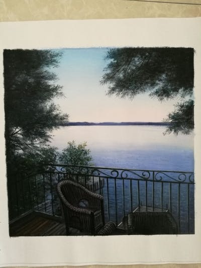 A painting of sky, water, tree, reflection, morning, lake, horizon, cloud, sea, evening