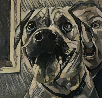 A painting of dog, dog breed, dog like mammal, nose, snout, dog crossbreeds, puggle, dog breed group, companion dog, ear