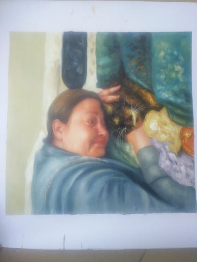 A painting of cat, mammal, vertebrate, small to medium sized cats, nap, girl, sleep, child, cat like mammal, carnivoran