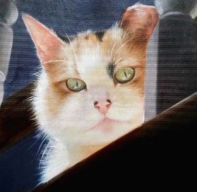 A painting of cat, whiskers, small to medium sized cats, cat like mammal, kitten, snout, domestic short haired cat, carnivoran